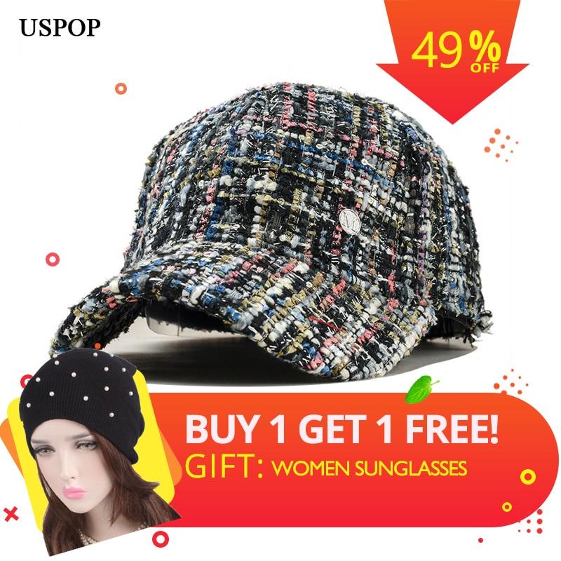 USPOP 2019 Hot women fashion tweed   baseball     cap   female casual retro plaid visor   cap   Letter M   baseball     caps