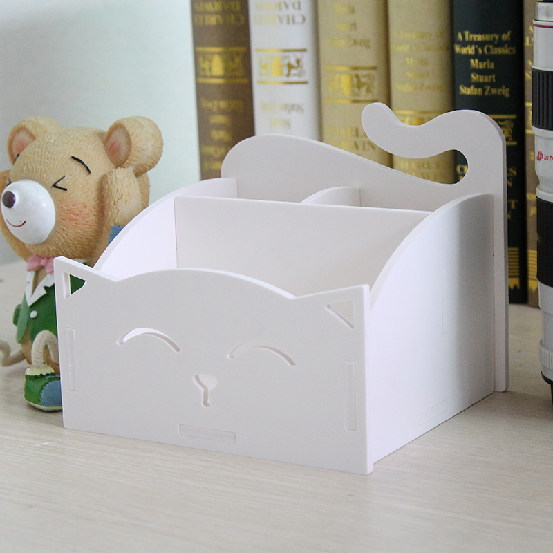 Lovely cat plastic waterproof storage box desk mobile <font><b>phone</b></font> remote control comstic storage rack finishing cabinet <font><b>essential</b></font>