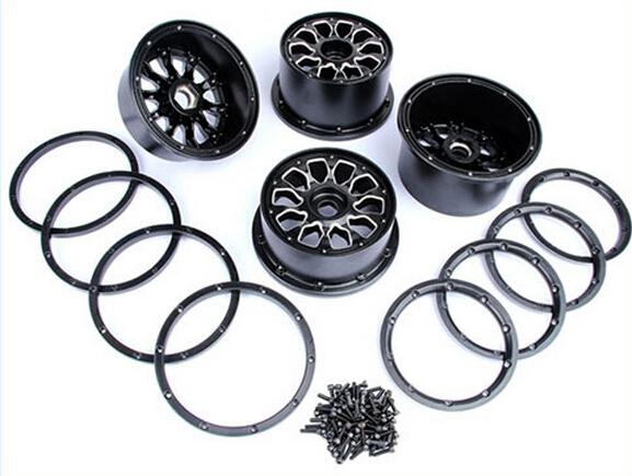 Metal Baja 5T wheel hub set two rear and two front wheels and beadlocks for 1/5 HPI Baja 5T Parts Rovan KM 180 16 9 fast fold front and rear projection screen back