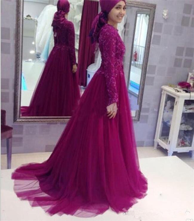 Formal muçulmano vestidos de noite 2019 a linha mangas compridas rendas frisado cachecol islâmico dubai arábia saudita longo baile noite vestido - 2