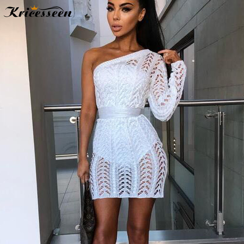 Kricesseen Elegant One Shoulder Knited Crochet Asymmetric Party Dresses Sexy  Hollow Out Night Club Mini Dress a09227984d4a