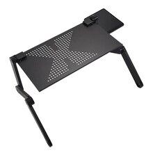 Przenośny składany regulowany biurko na laptopa stolik pod komputer stojak na sofę czarny