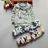 Sonbahar Bebek Erkek Giyim set Rahat Spor Takım Elbise Mektup Eşofman Bebek yürümeye başlayan Kızlar Için Giysi Boy 24 M Tops T gömlek + Pantolon
