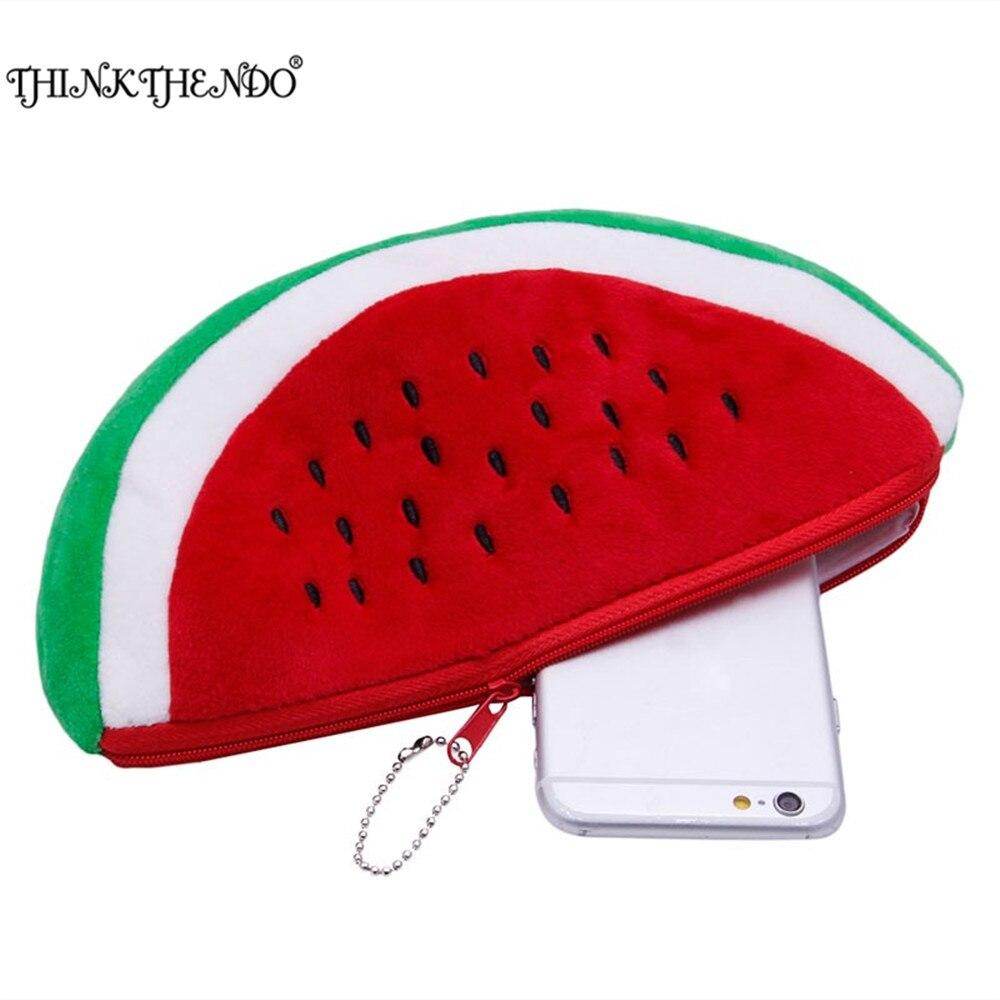THINKTHENDO Soft Plush Pink Red Colo Cute Cartoon Fruit Watermelon Coin Purse Bag Pencil Case Wallet For Women Girl