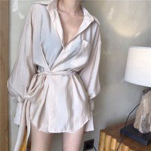 2019 Women Summer Two Pieces Suits Korean Fashion Long Shirt Shorts Sleeve Irregular Blouse Elegant Ol