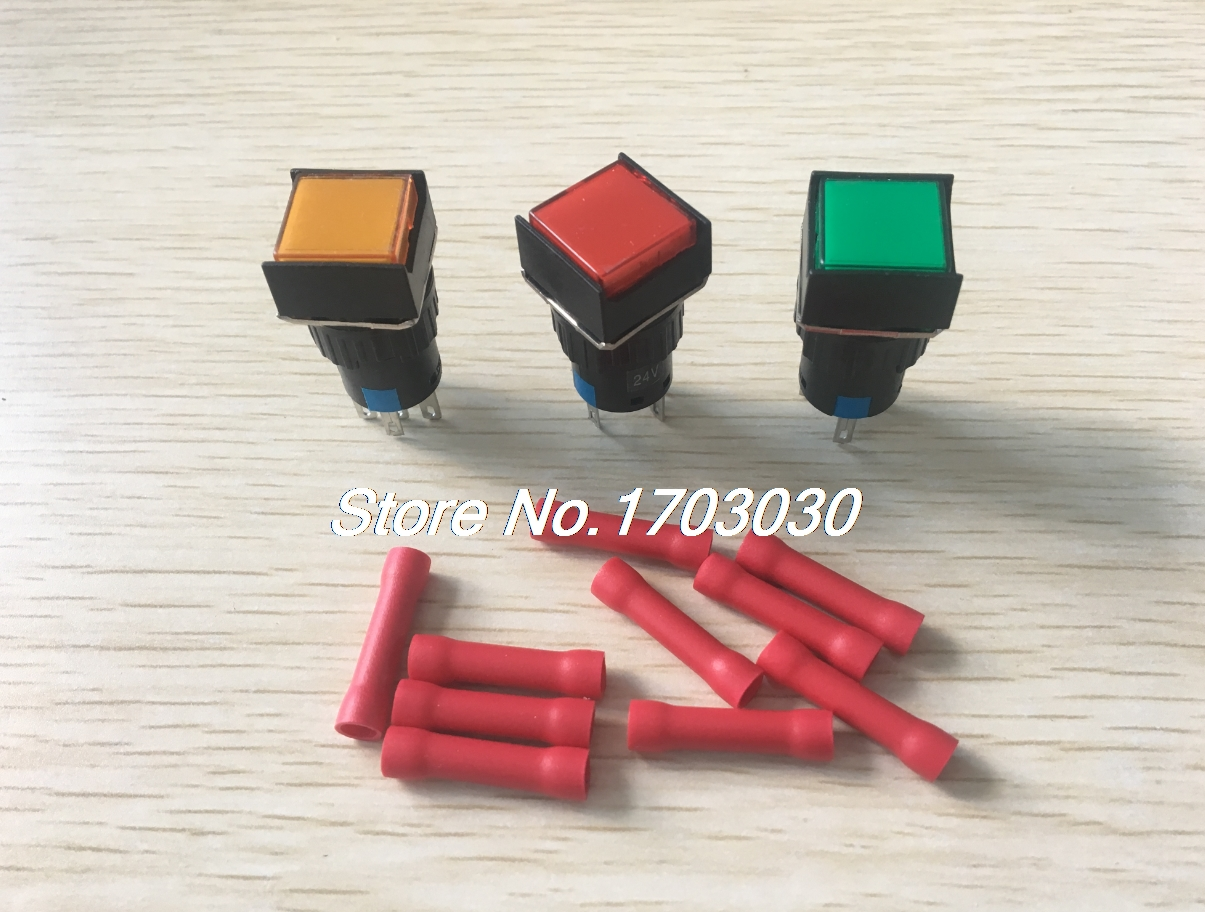 3Pcs DC 24V LED Lamp SPDT Self Locking Square Pushbutton Switch 16mm w Connectors блейзер quelle ichi 1019531
