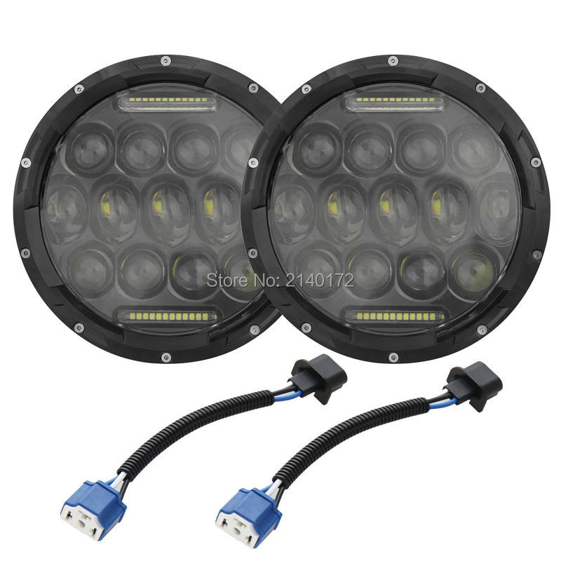 2x 7 75W LED Headlight H4 DRL High/Low Beam Driving light  for Wrangler Hummer JK Harley Davidson black chrome round 75w high low beam drl led auto headlight driving fog lights for jeep wrangler hummer h1 h2 offroad