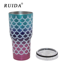 RUIDA 30oz Mermaid Tumbler Cups Triple Insulated Stainless Steel Double Wall Vacuum Mugs Travel Mug Beer ST015