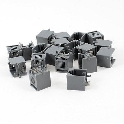 19 x Black Gray Plastic Unshielded RJ12 6 Pin Network Ethernet PCB Jacks Socket plastic solderless breadboard 840 tie point pcb panel 175 x 67 x 8mm