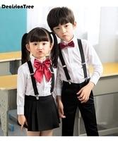 2019 new children cotton korean japanese student school uniforms girls boys kid collar shirt top pleated skirt shorts tie out