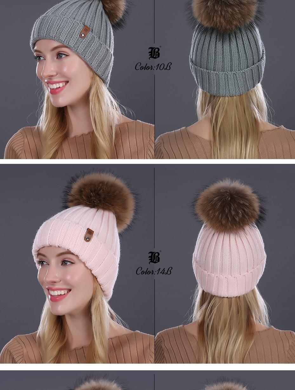 [FLB] Wholesale Real Mink Fur Pom Poms Knitted Hat Ball Beanies Winter Hat For Women Girl 'S Wool Hat Cotton Skullies Female Cap 64