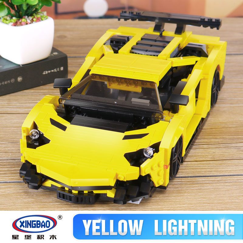 XingBao 03008 Creative MOC Technic Series The Yellow Flash Racing Car Set Educational Building Blocks Bricks legoing Toys Model xingbao 01001 creative chinese style the chinese silk and satin store 2787pcs set educational building blocks bricks toys model