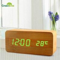 2018 Creative Desk Clock Sound LED Wood Electronic Alarm Clock PVC Material Thermometer Alarm Calendar Function Table Clocks