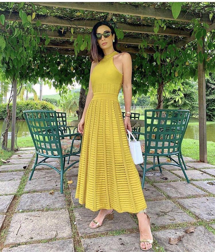 Frauen verband kleid neue 2019 sommer promi party gelb mesh hängenden hals spitze MAXI lange kleid Vestidos sexy mode gr-in Kleider aus Damenbekleidung bei  Gruppe 1