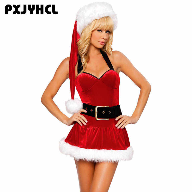 Women New Year Christmas Costume Female Red Sexy Dress Fancy Party Adult  Female Cosplay Short Dresses 8ff7ed98b