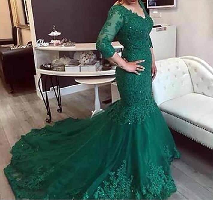 Long Sleeves Lace   Prom     Dresses   Mermaid Plus Size V Neck Beads Arabic Muslim Women Gold Formal   Prom   Evening Gowns Robe De Soiree