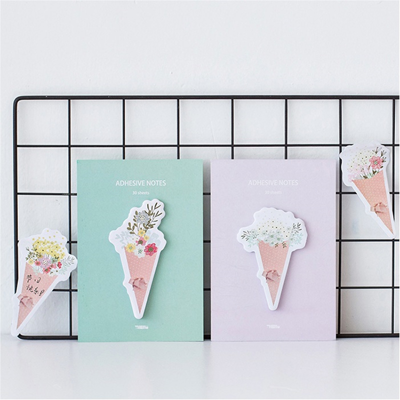 4 pcs/Lot Flower sticky note and memo pads Post for diary Message stickers bookmarks Stationery Wedding School supplies F507