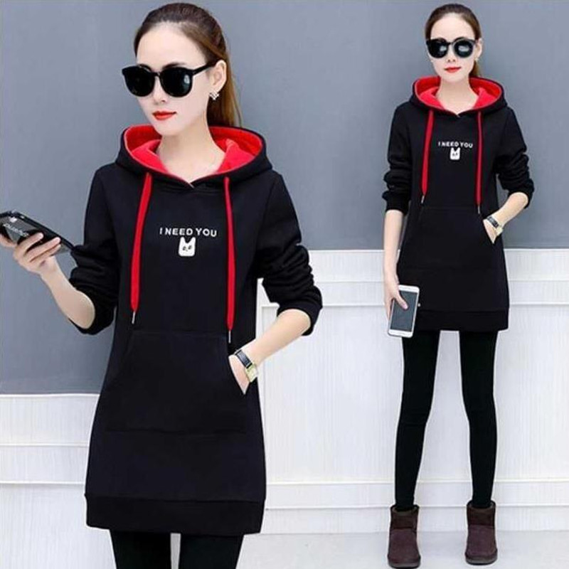 Winter New Hoodie Sweatshirt Women Solid Casual Loose Zipper Plus Size Thick Hoodies Jacket Long Coat Feminino Hoodies