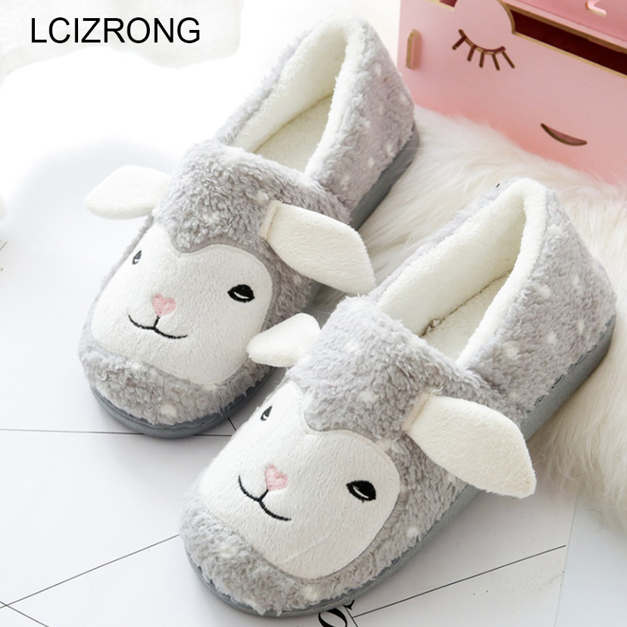 LCIZRONG Cute Sheep Family Women Home Slippers Rubber Sole Plush Warm Animal Slippers Woman Winter Warm Girl Floor Shoes Cartton cute bear plush slippers with leaf pantoufle femme women shoes woman house animal warm big animal woman funny slippers