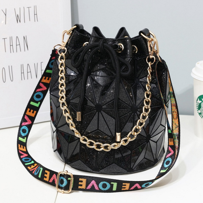 Fashion Women Drawstring Bucket Bag Girls String Chain Shoulder Bags Geometric Bag Handbag Messenger Bag Designer