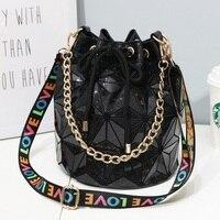 Fashion Women Drawstring Bucket Bag Girls String Chain Shoulder Bags Geometric Bag Handbag Messenger Bag Designer