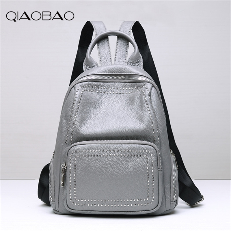 QIAOBAO 2017 New Real leather backpack Rivet large capacity travel backpack head layer cowhide backpack shoulder