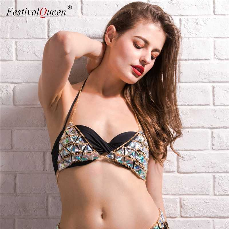 a3fcfb82036 FestivalQueen exotic women colorful gems bra hot sexy girls adjustable  metal chain enticing lingerie beach halter