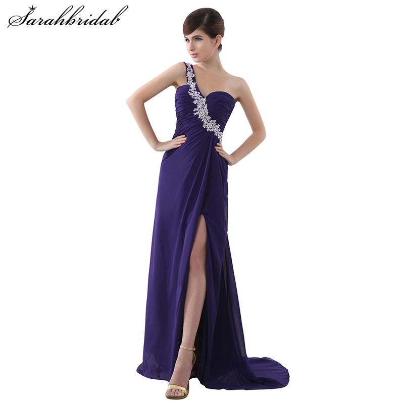 Sexy One Shoulder Chiffon Bridesmaid Dresses Hot Side Split Pleated Grape Purple Formal Dress Robe De Soiree Longue SD012
