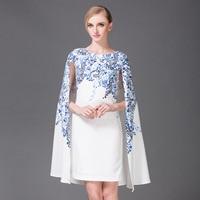 2016 Autumn Runway Designer Cloak Dress Women S High Quality Blue Floral Printed Dress Elegant Cape