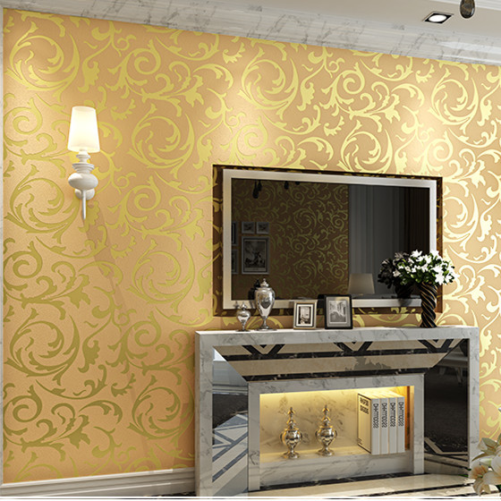 Free Shipping 1pcs Classic Pvc Paper Back Vinyl Wallpapers Gold Color 05310M Living Room Bedding Home Design Wallcovering In From