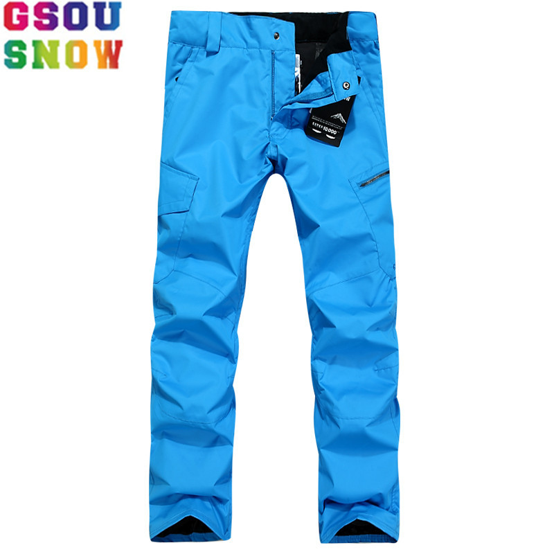 GSOU SNOW Brand Ski Pants Men Waterproof Snowboard Pants Plus Size Winter Skiing Snowboarding Snow Trousers Male Outdoor Sport