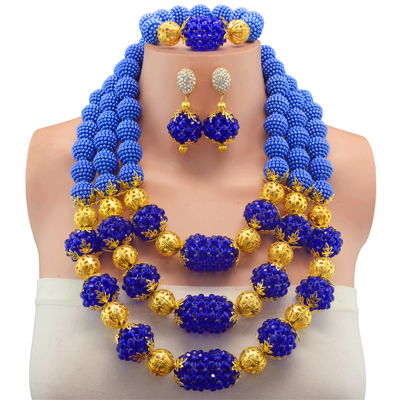 2017 Newest Royal Blue Party Bridal Jewelry Sets Gold-color Nigerian Wedding African Beads Jewelry Sets Crystal For Women's Bead камера заднего вида для volkswagen intro vdc 046 vw golf vi 2008 2012 vw passat 2008 2013 vw polo 2010 2013