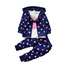 The little girl's clothes autumn and winter children's clothing suit / Hooded Jacket + T-shirt + trousers /3pcs Cotton 1-4y(China)