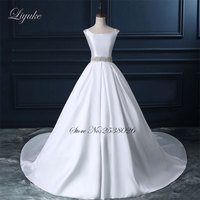 Gorgeous Satin Scoop Court Train Backless Wedding Dress Beading Crystals Sashes Sleeveless Ball Gown Bride Dresses