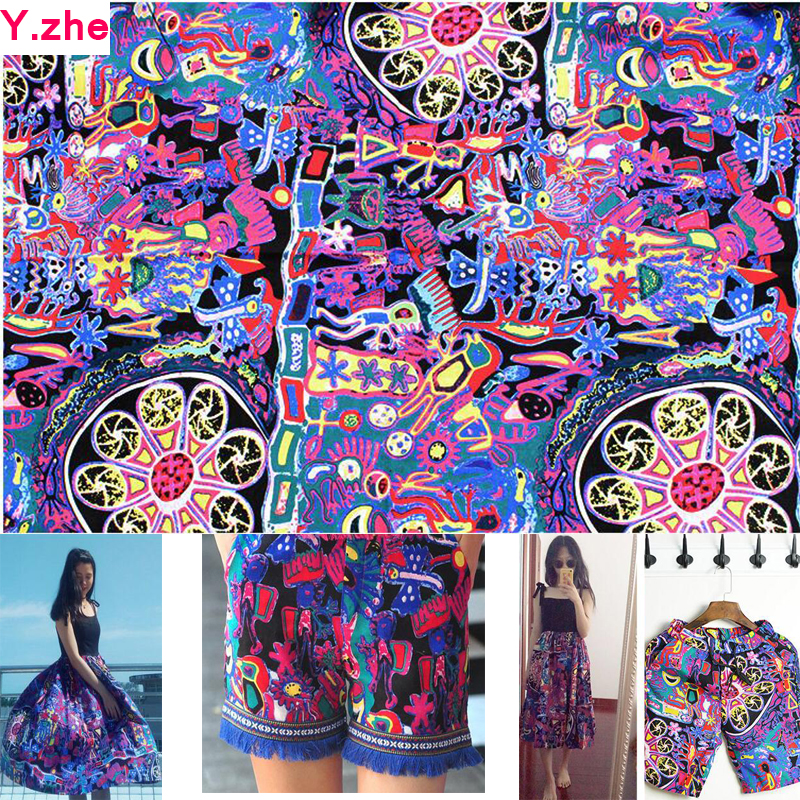 New Colourful Ethnic Fabrics Cotton/linen Fabric Ethnic Abstract printed Sewing Material DIY Patchwork Home Cloth Women Dress