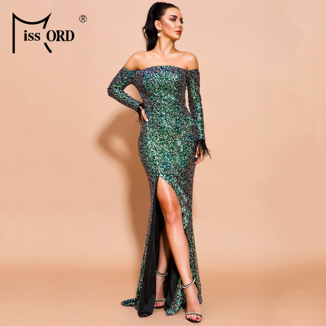 Missord 2019 Women Sexy Off Shoulder Slash Neck Long Sleeve High Split Dresses Female Sequin Backless Maxi Dress  FT19603
