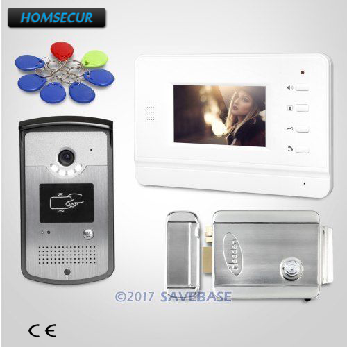 HOMSECUR 4 3inch Video Door Entry Security Intercom Electric Strike Lock Set Included 1V1