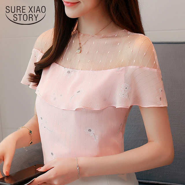 2018 new summer women tops short sleeved blouses chiffon ruffles patchwork pink blouses sweet lady casual women clothing 0228 40