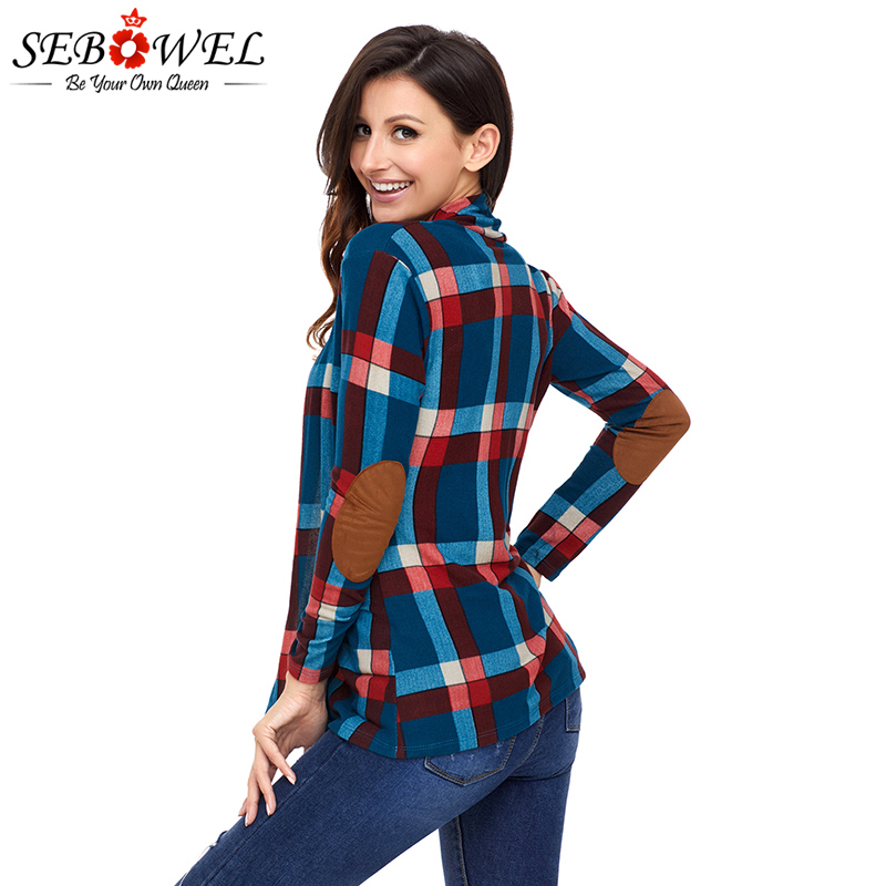 US $15.35 40% OFF|SEBOWEL Autumn Women Plaid Cardigan Coat Red Suede Elbow Patch Long Sleeve Plaid Cardigan 2019 Spring Women Clothes for