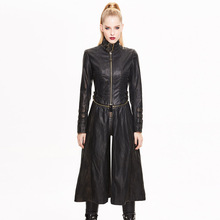 New Devil Spring Autumn Gothic Punk Removable Women Long Coat Slim Fit Fashion And Personality Female Pu Leather Jacket Coat
