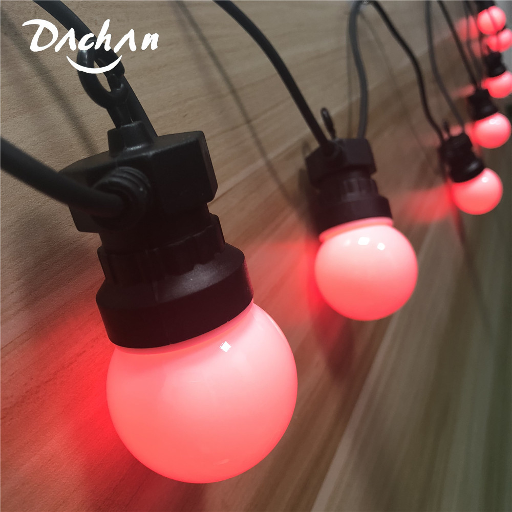 DACHAN IP65 RGB Festoon Globe Ball G50 Milky Bulb String Connectable Outdoor String Lights For Cafe