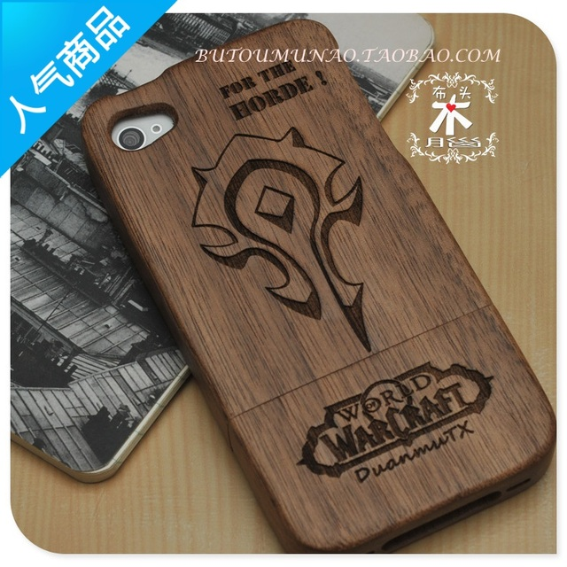For iPhone  4 4s 5 Phone Case for Warcraft World Case Designer Wooden Mobile Phone Case Gamer Essential Museum Piece Cartoon