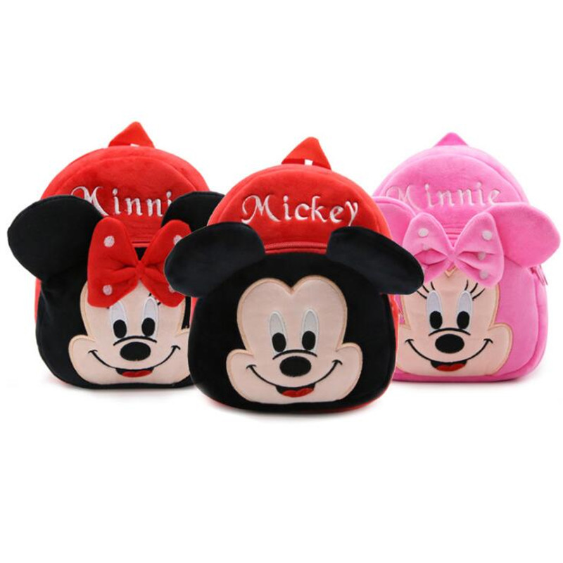 1-3 Years Baby Plush Backpack Cute Cartoon Rose Red Minnie Mickey The Mouse Plush Bag Soft Toy Children's School Bag