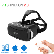 Shinecon VR 2.0 3D Virtual Reality glasses headset Immersive Helmet vr box Head Mount For 4.5′-6.0′ Phones + Remote Controller