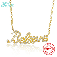 L Zuan Custom Personalized 925 Sterling Silver Jewelry Collares Letter Believe 24K Gold White Zircon Nameplate