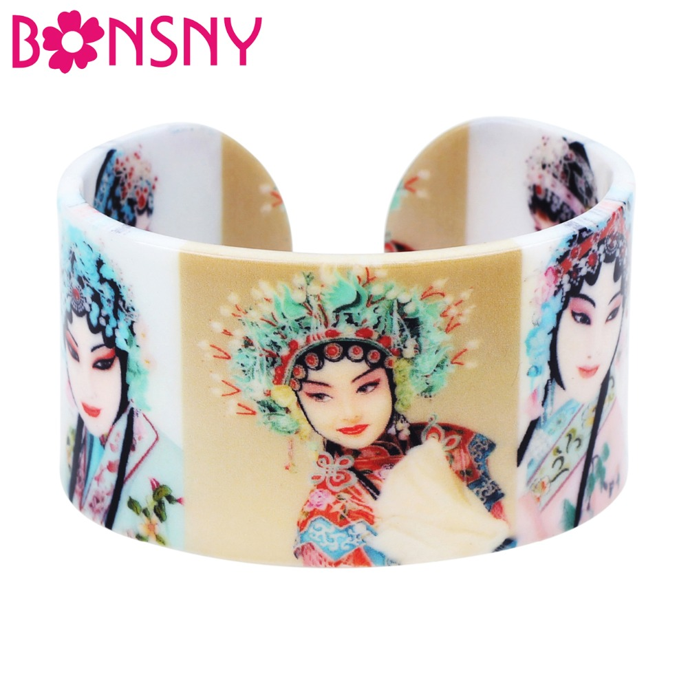 Bonsny Plastic Traditional Chinese Opera Drama Actress Bangles Bracelets Fashion Ethnic Craft Jewelry For Women Girls Ladies