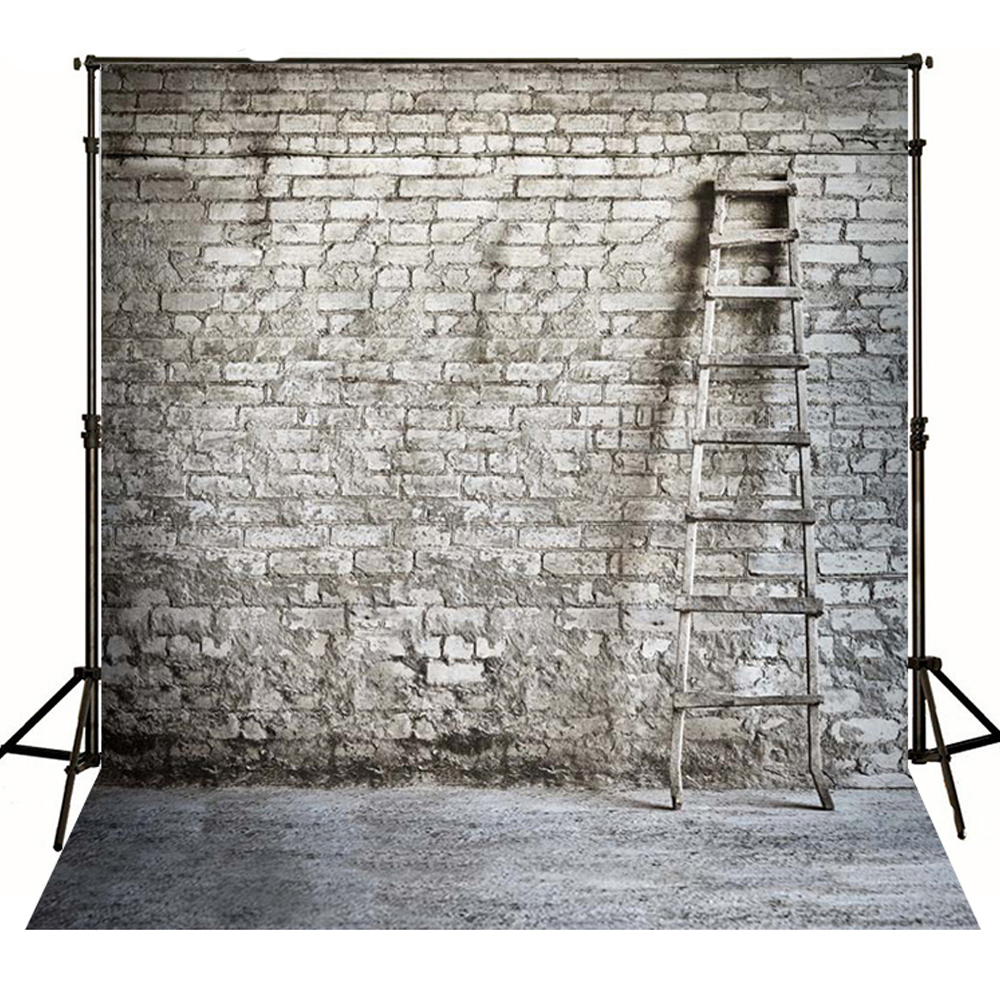 Wood Ladder Lay on White and Grey Brick Wall Backdrop for Photography 5x7 Digital Photo Background Baby Custom Backdrop Studio shengyongbao 7x5ft vinyl custom photography backdrop prop white brick wall theme studio background nwz 02