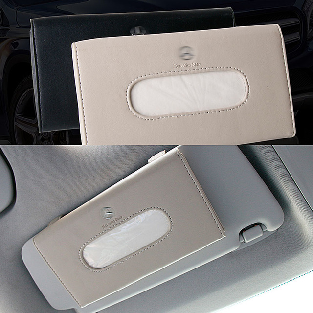 High Quality Car Sun Visor Hanging Leather Tissue Box For Mercedes Benz  Dedicated Tissue Box Auto Interior Decoration Accessorie 0f78e58b402