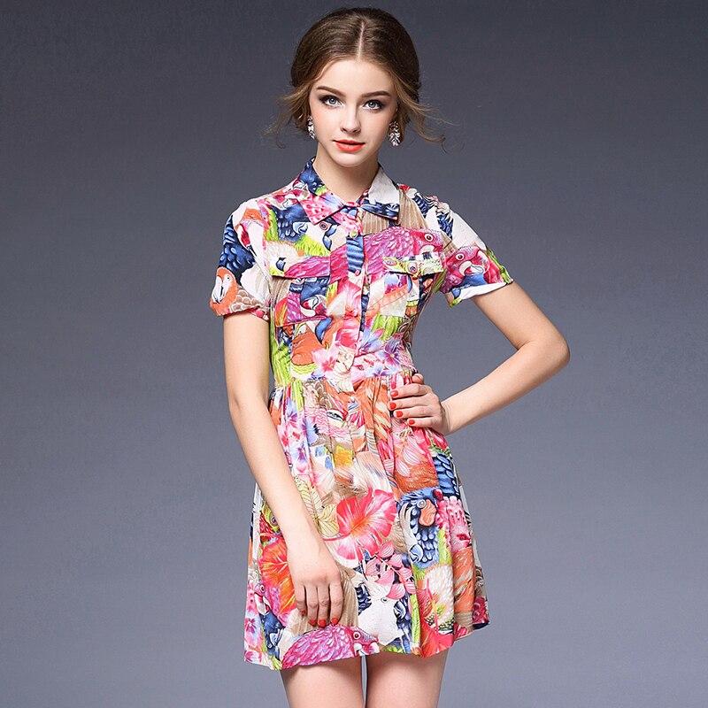 2016 nuova primavera boutique delle donne eleganza fiore piuma pappagallo  timbro Risvolto vestito di seta 43528f9f5f7
