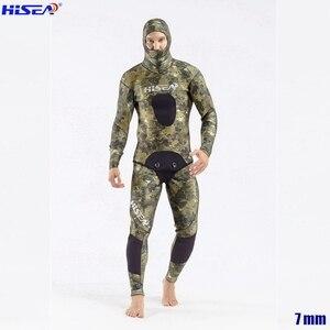 Image 2 - Erkekler profesyonel 5mm 7mm tayvan YAMAMOTO neopren Spearfishing takım elbise mevcut kapşonlu mühürlü iki parçalı dalış kuru Wetsuits
